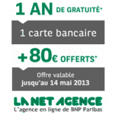 La NET agence : Compte bancaire sans frais + 80 euros offerts + la carte bancaire gratuite