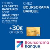 Prime de 30€ + la carte bancaire gratuite pour toute ouverture d'un compte Essentiel+ Boursorama Banque