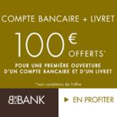 100€ de prime pour toute ouverture simultané d'un compte courant et d'un livret épargne BforBank
