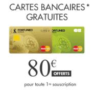 80€ + la carte bancaire offerte chez Fortuneo !