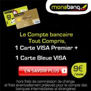 MONABANQ : Compte tout compris à 9 euros par mois avec 1 carte bleu VISA + 1 carte Premier