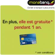 MONABANQ : Votre carte bancaire VISA gratuite pendant 1 an