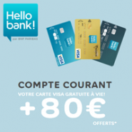 Compte courant Hello bank!  : votre carte Visa gratuite + 80 € offerts !