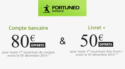 Fortuneo : Compte courant + compte sur livret = jusqu'à 130€ de prime !