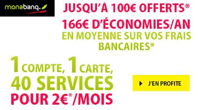 1 compte + 1 carte + 40 services pour 2€ par mois et 100€ offerts !