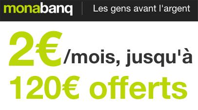 1 compte + 1 carte + 40 services pour 2€ par mois et jusqu'à 120€ offerts !
