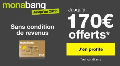 Offre compte de dépôt monabanq. : Jusqu'à 170 € offerts !